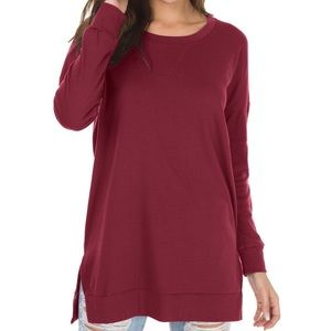 Long Sleeve Side Split Loose Casual Pullover Tunic